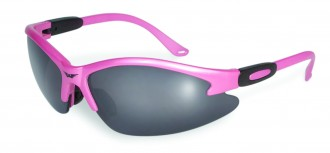 pink glasses with smoke lens