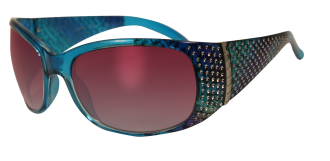 Rainbow blue large ladies glasses with bling