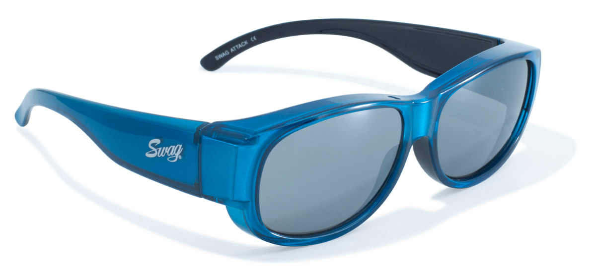 Blue frame over the glasses glasses