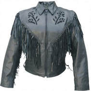 ladies fringe leather jacket