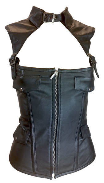 zip up leather corset also go around neck and over shoulders