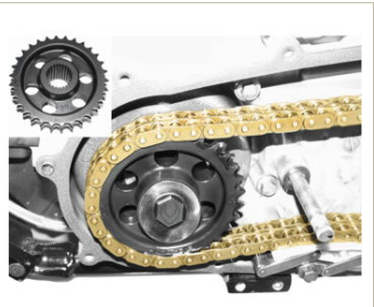 Gold chain on sprocket