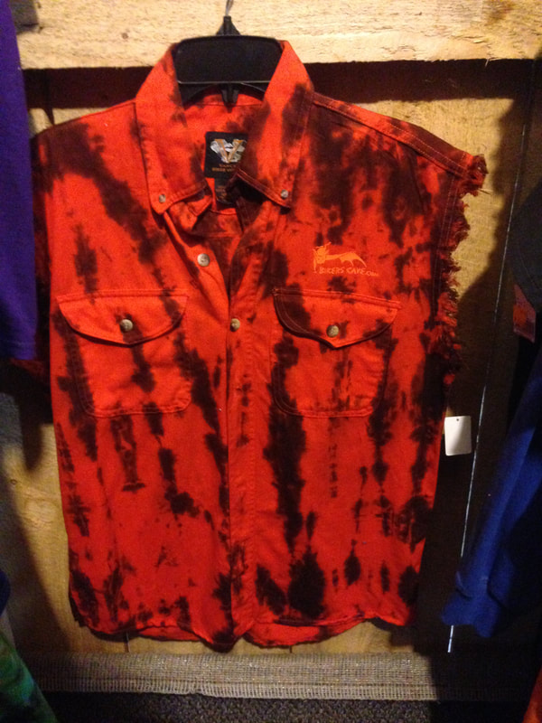 Sleeveless orange tie die shirt