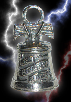 Liberty bell shaped bell with words let freedom ring