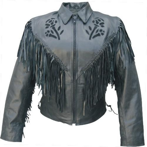 Black rose fringe ladies jacket